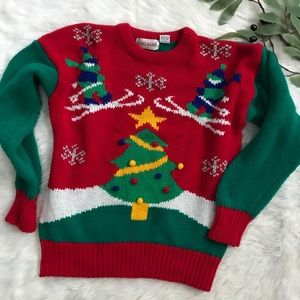 Vintage Ugly Christmas Ski Tree Bold Sweater